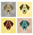 assembly flat shading style icons pet dog vector image vector image