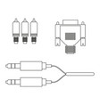 aux vga component cable vector image