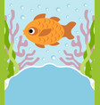 background cartoon card with fish vector image vector image