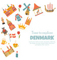 banner with danish symbols famous places vector image