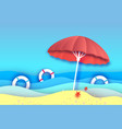 beach umbrella -red parasol in paper cut style vector image vector image