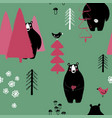 bear in the forest seamless pattern vector image vector image