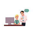 boss managing female employee showing approval vector image vector image