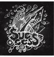 Business doodles on blackboard