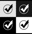 check mark in round icon isolated on black white vector image vector image