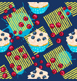 cupcake with red berry on blue seamless pattern vector image