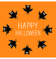 Cute bat round frame Happy Halloween card Orange vector image vector image