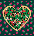 decorative strawberry folk ornament made of heart vector image