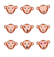 Emotions faces monkeys nine set icons vector image