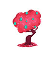 fairytale tree with bright pink foliage and vector image