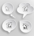 Family home White flat buttons on gray background vector image