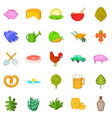farm harvest icons set cartoon style vector image vector image