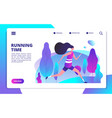fitness landing page sporty girl running in vector image vector image