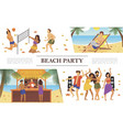 flat beach party concept vector image
