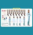front side back view animated character doctor vector image vector image