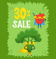 funny vegetables hero and sale superhero vector image