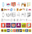 furniture and interior cartoon icons in set vector image