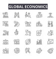 global economics line icons for web and mobile vector image vector image