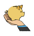 hand business man holding piggy bank image vector image vector image