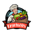 happy cook is holding a wicker basket with vector image vector image