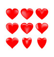 heart 3d set red sign on white background vector image vector image