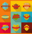 heraldic stamp icons set flat style vector image vector image