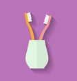 Icon of Toothbrush in glass Flat style vector image