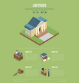 law studies isometric 3d poster vector image