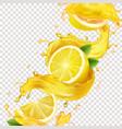 lemons in yellow juice splash realistic vector image vector image