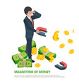 magnet money business connection financial dollar vector image vector image