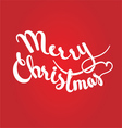 merry christmas lettering on red background vector image