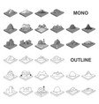 mountains massive monochrom icons in set vector image