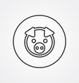 pig outline symbol dark on white background logo vector image