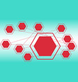 red hexagons shapes layout template for science vector image vector image