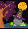 rock with hat forest moon halloween vector image