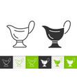 sauce boat simple black line icon vector image vector image
