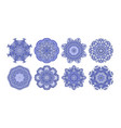 set of 8 circle paisley pattern to winter vector image
