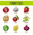Set of expressive vegetables and fruits vector image
