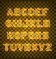 shining and glowing yellow neon alphabet and vector image