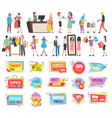 shopping banners sale and discounts proposals vector image
