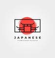 torii gate with sun logo symbol minimalist design vector image vector image