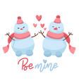 two cute snowmen in love flat vector image