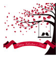valentine day with tree autumn and pink ribbon vector image vector image
