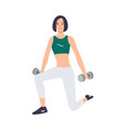 woman in sports clothes holding pair of dumbbells vector image vector image