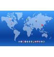 world map with set different countries flags vector image
