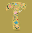 yellow letter t with floral decor and necklace vector image vector image