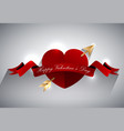 valentines greeting card design heart with gold a vector image