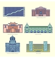 Monuments thin line icons vector image
