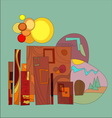 abstract sun icon town house vector image vector image
