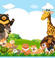 animals in the park with writing space in sky vector image vector image